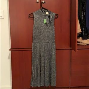 Kate Spade metallic pleated dress
